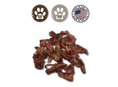 Top Dog Chews - Thick Cut 1 lb. Pig Ears Strips for Dogs - 100% Natural Bulk Dog Chews (1LB)