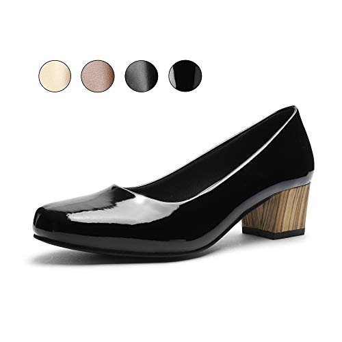 GUCHENG Chunky Heels Wmen's Pumps Shoes - Low Heel Dress Comfortable Ladies Formal Width Black Brown White Wedding Shoes