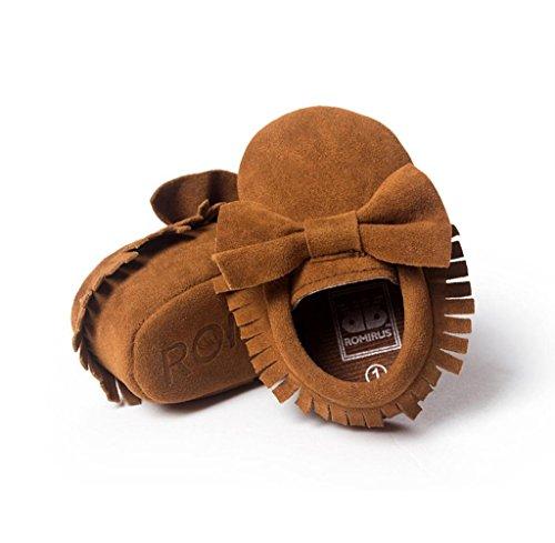 Zapatos de bebé,Tongshi Niña Bowknot zapatos de cuero zapatillas antideslizante suave niño único para 0-18 meses marrón