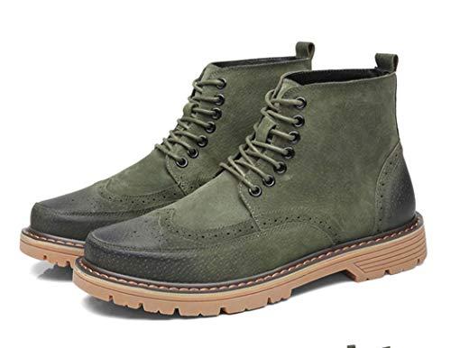 45EU Brock Casual Up Lace Pelle Autunno Intagliato Toe Stivali Stivali Mens Di Green Martin qOw4RR