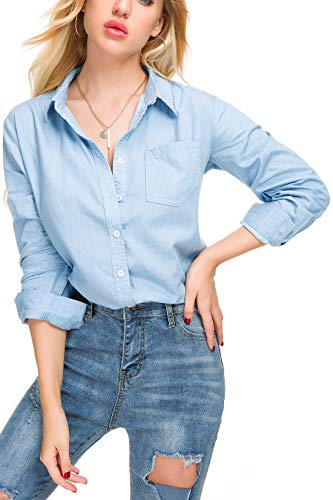 Tsher Light Blue Loose Shirt Long-Sleeved Tops Fashion Casual Button Cotton Denim Blouse 5005-1(L, Light Blue)