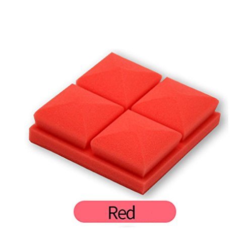 Sound Foam Panels,vmree 20x20x5cm Acoustic Studio KTV cancelling Foam Panel soundproof Absorption Sponge (Red)