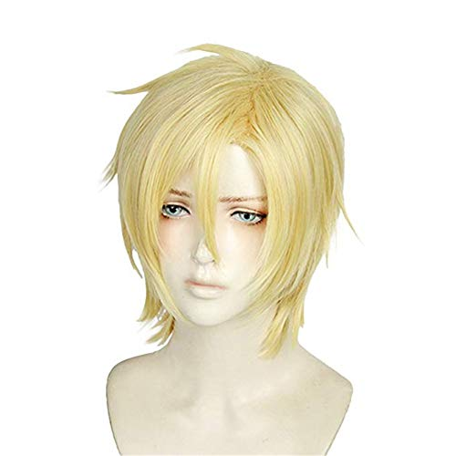 Xingwang Queen Anime Cosplay Wig Short Straight Blonde Hair Halloween Christmas Party Wigs for Men Boys -