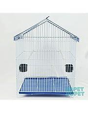 Viveiro Parede e Gaiola de Arame Zincado para Aves teto Azul