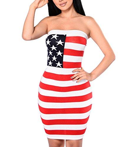 Dresses-Han-Shi-American-Flag-Sexy-Women-Strapless-Beach-Mini-Prom-Skirts-Sundresses