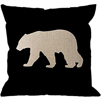 HGOD DESIGNS Bear Pillow Cover,Black Background Bear Throw Pillow Case Cotton Linen Square Cushion Cover Standard Pillowcase Home Decorative for Sofa Armchair Bedroom Livingroom 18 x 18 inch