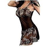 Women Lace Plus Size Nightwea Underwear,Ladies Sexy Lingerie Bee Babydoll Negligee (XL, Black)