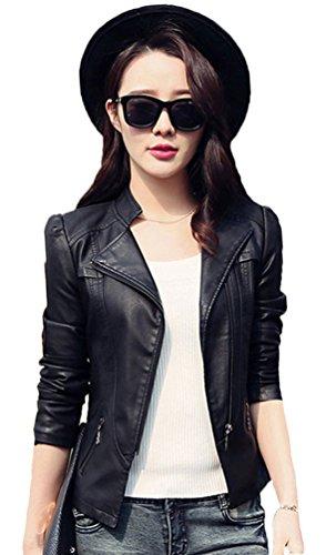 My Wonderful World Women's Slim Biker Zipper Faux Leather Jackets US 4 (Tag Asian Large) Black Collar Slim Zipper Closure