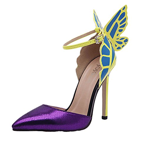 King Ma Women Fashion Butterfly High Heel Sandals US 7.5 Purple ()