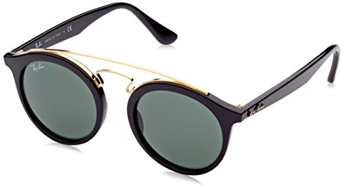 Ray-Ban Injected Unisex Sunglasses - Black Frame Dark Green Lenses 46mm Non-Polarized -