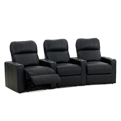 Octane Turbo XL700 Black Bonded Leather with Manual Recline (Row of 3 Curved) For Sale