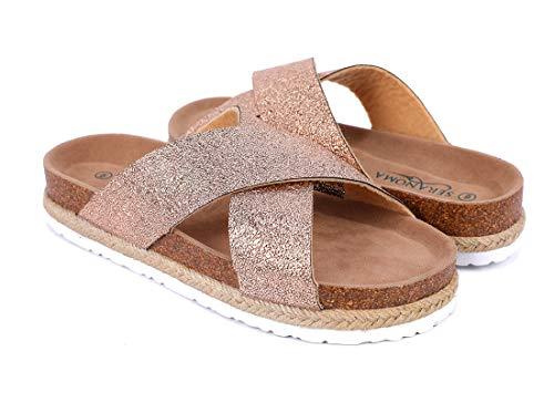 (Seranoma Women's Comfort Slide Cork Sandals   Metallic Criss-Cross Straps   Open Toe Platform   Trendy Spring/Summer Sandal)