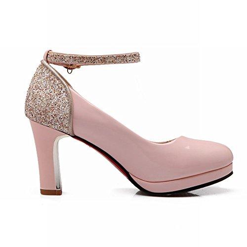 MissSaSa Damen Plateau Knöchelriemchen Chunky high-heel Pumps mit Pailletten elegant Lackleder runde Spitze Schnalle Kleidschuhe Pink