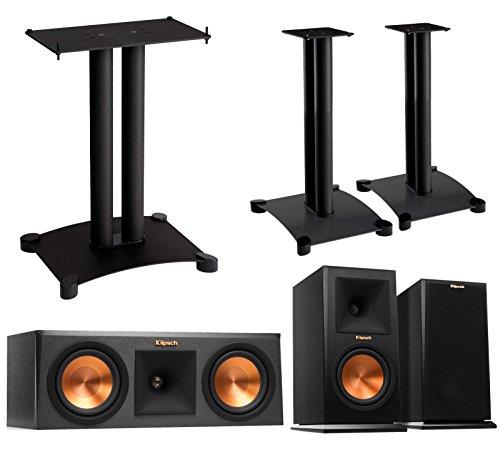 Klipsch Reference Premier 3.0 Speaker System With Stands (1 Pair RP160M Bookshelf Speakers, 1 Pair Sanus SF22B1 Bookshelf Stands, 1 RP250C Center Speaker, 1 Sanus SFC22B1 Center Stand) - Ebony