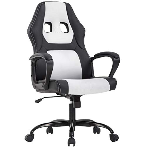 Racing Home Office Chair, Ergonomic Executive PU Gaming Chair, Rolling Metal Base Swivel Desk Chairs with Arms Lumbar Support Computer Chair for Women,Men White