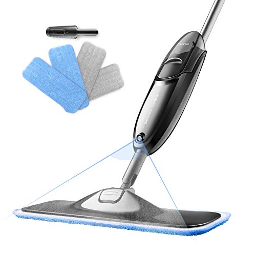 Spray Floor Mop - iTvanila Hardwood Floor Mop, Spray Microfiber Mop with 4 pcs Reusable Microfibre Pads, 360 Degree Rotating Easy to Clean Dry/Wet Mop for Hardwood Floor, Wood, Laminate, Tile.