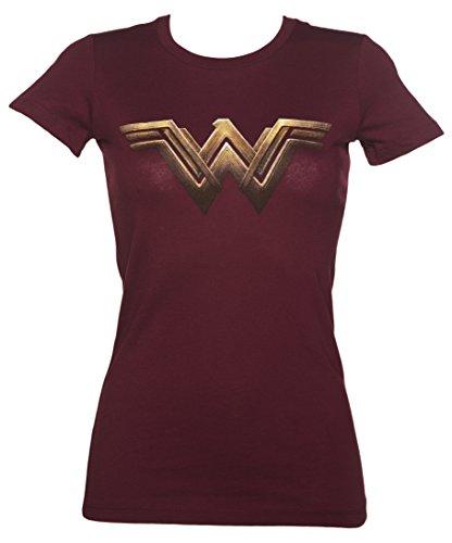 Womens Dark Red Wonder Woman Logo T Shirt,Red,Large