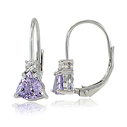 Sterling Silver Genuine Amethyst & White Topaz Trillion-Cut Leverback Drop Earrings
