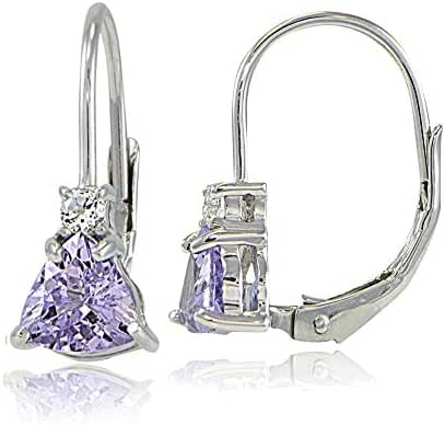 Sterling Silver Genuine or Created Gemstone & White Topaz Trillion-Cut Leverback Drop Earrings