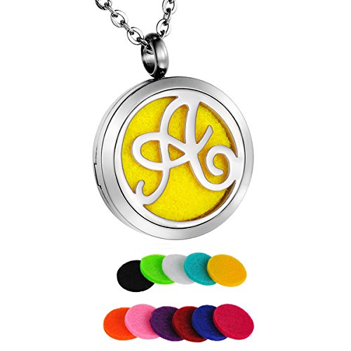 HooAMI-Monogram-Aromatherapy-Essential-Oil-Diffuser-Necklace-A-to-Z-Letter-Locket-Pendant-with-24-Chain-12-Refill-Pads