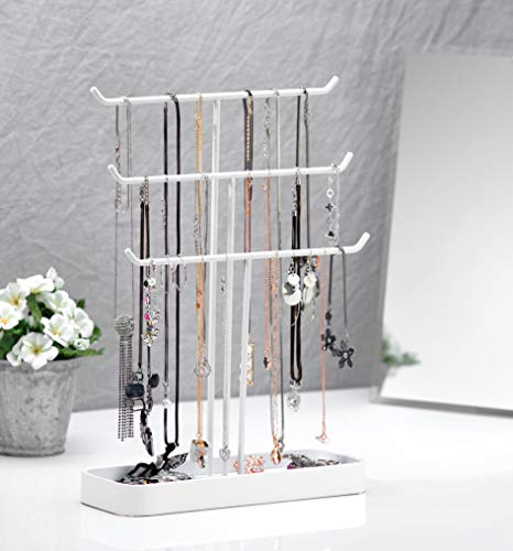 JackCubeDesign Metal 3 Tier Jewelry Display Stand Tree Organizer Bracelet Necklace Holder Rack Hanger Tower with Earring Ring Tray Storage Tabletop(White, 12.1 x 4.1 x 16.1 inches) - :MK320F