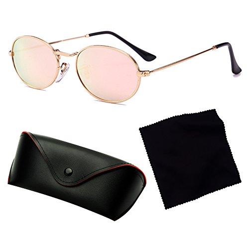 soleil et pour petit Hibote Vintage lentille hommes plastique Lunettes de femmes UV400 cadre ovales C2 métal en en qwxAE0