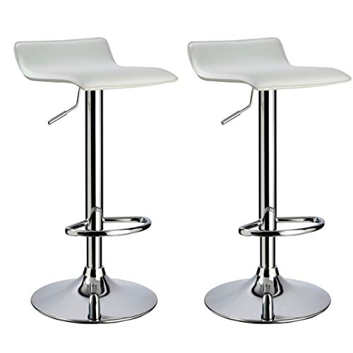 Duhome Elegant Lifestyle Bar Stool WY-118 Curved Adjustable with PVC Leather Seat Set of 2 Bar Chair (White)