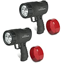 Cyclops SIRIUS 300 Lumen Handheld Ultra-Bright Spotlight w/6 LED Lights, 2-Pack (Includes Home & Car Chargers)