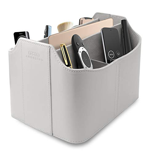 Londo Leather Remote Control Organizer and Caddy with Tablet Slot, White