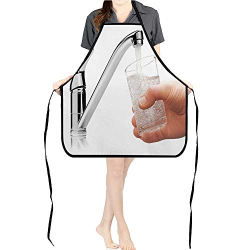 Apron Men Women for Kitchen Glass fille Drink Water from tap Isolate White backgroun Cooking,Chef,BBQ, and Grill ApronK17.7xG26.6xB9 - Love Hat Chefs I Lucy