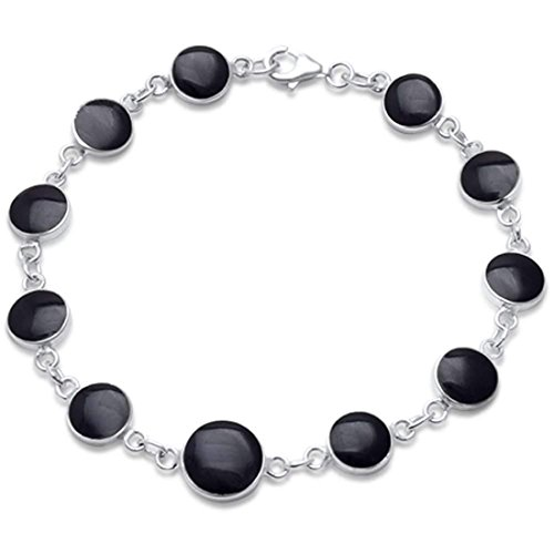 Blue Apple Co. Round Big Small Bracelet Simulated Black Onyx 925 Sterling Silver