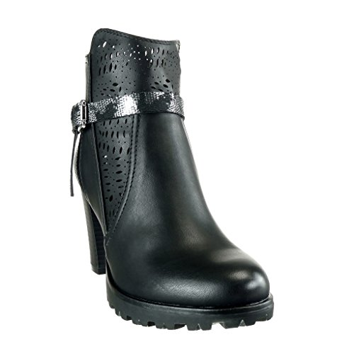 Booty Snakeskin Boots Cavalier Ankle Bi Knot node Black 8 Camouflage Angkorly cm Heel Block Shoes Material Fashion Women's High fxYqwnzIX