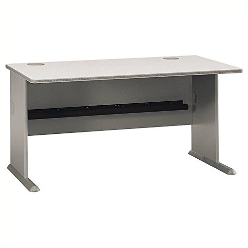 Bush Business Furniture Series A 60W Desk in Pewter and White Spectrum