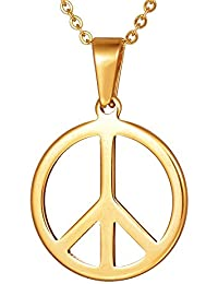 Gold Peace Sign Necklace for Women Stainless Steel Peace Symbol Pendant