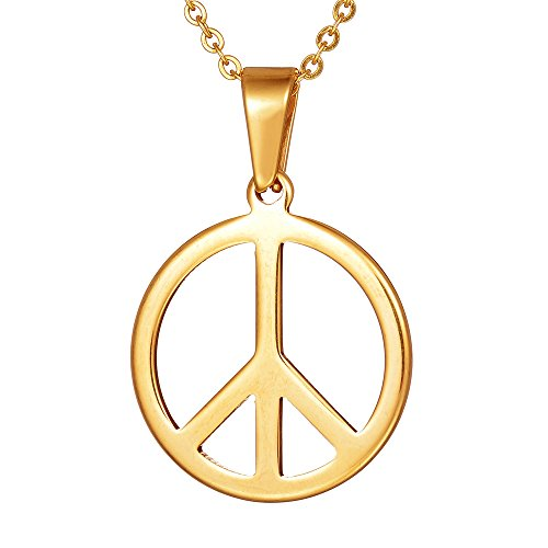 Yolanda Gold Peace Sign Necklace for Women Stainless Steel Peace Symbol Pendant - Peace Sign Symbol Pendant