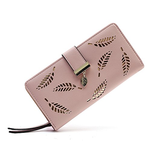 Women Long Leaves Design Cash Wallets PU Leather ()