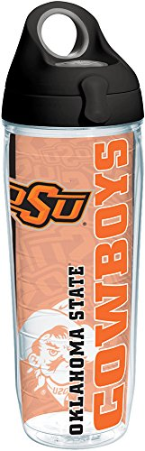 - Tervis 1220148 Oklahoma State Cowboys College Pride Tumbler with Wrap and Black with Gray Lid 24oz Water Bottle, Clear