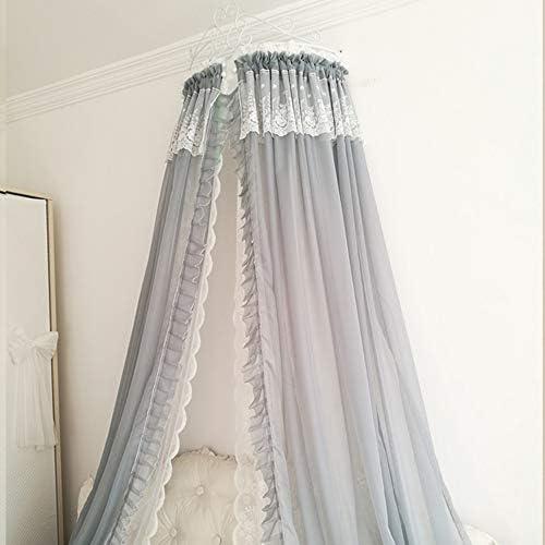 姫ベッドキャノピー,装飾的なドレープと金属の王冠が付いている裁判所シフォンベッドカーテン 弓-寝室のための結び目-e