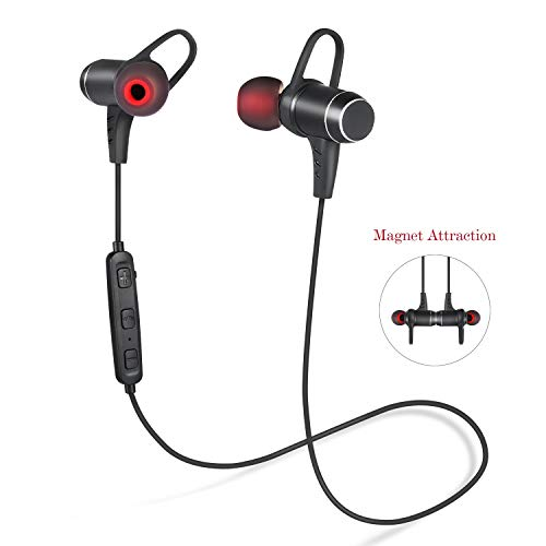 Bluetooth Headphones,Wireless V4.1 Bluetooth Earbuds Magnetic in-Ear Headset Sweatproof Sports Earpieces Lightweight Stereo Noise Cancelling Earphones with Built-in Mic[Upgraded Version]