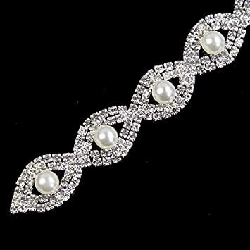FidgetGear Rhinestone Applique Bridal Crystal Trim Beaded Wedding Sash Belt Headband DIY