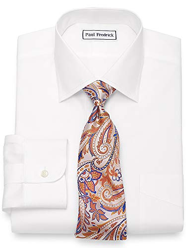 - Paul Fredrick Men's Slim Fit Non-Iron Cotton Spread Collar Dress Shirt White 15.5/32