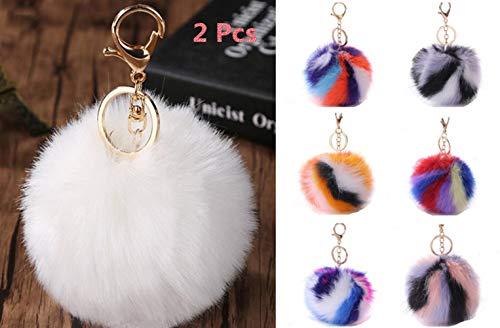 Pom Pom Keychain Bag Purse Charms Fluffy Fur Ball for Women (White+Rainbow color)