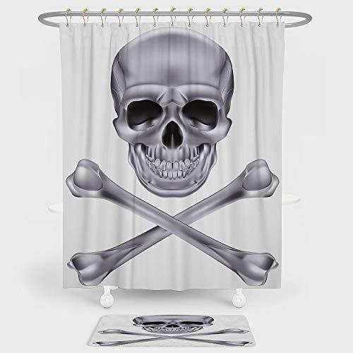 iPrint Silver Shower Curtain Floor Mat Combination Set Vivid Skull Crossbones Dangerous Scary Dead Skeleton Evil Face Halloween Theme Decorative decoration daily use Dimgray -