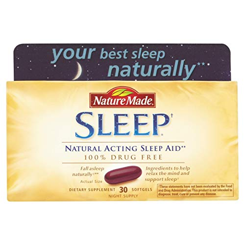 Vitamin Natures Aid Natural - Nature Made Sleep - Natural Sleep Aid - 2 Boxes, 30 Softgels Each
