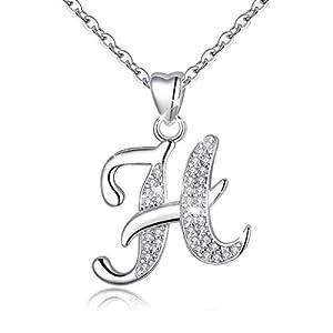 AEONSLOVE Collier Initiale Prenom Argent 925 Pendentif Lettre avec Zircon Cubique Collier Alphabet pour Femme, Cadeau…
