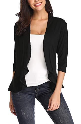 (ZHENWEI Women's Thin Cardigan Outwear Lightweight Open Front Cardigan Blazer Draped Dress Cardigan Sweaters Shrug Petite Jersey Cardigan(Black,S))