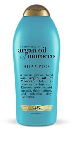 OGX Renewing Moroccan Argan Oil Shampoo, Salon Size, (1) 25.4 Ounce Bottle, Paraben Free, Sulfate Free, Sustainable Ingredients, Strengthens, Softens and Protects