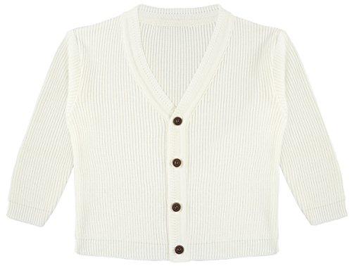 Lilax Baby Boys Basic Long Sleeve V-Neck Classic Knit Cardigan Sweater 6-9 Months Cream