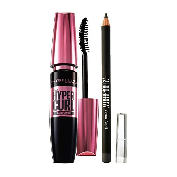 Maybelline New York Hypercurl Mascara Waterproof, Black, 9.2Ml And Maybelline New York Fashion Brow Cream Pencil, Gray