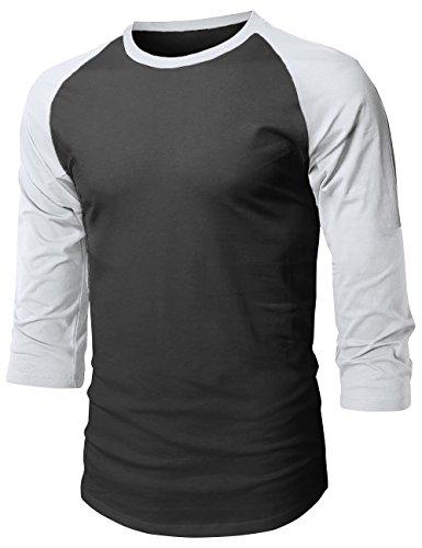 Ribbed Baseball Tee - Hat and Beyond Mens Baseball Raglan 3/4 Sleeve T Shirts 1HCA0008 (3X-Large, 1hc08_Black/Gray)